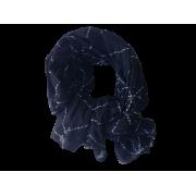 Tørklæde m/stikninger -sort