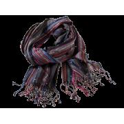 Tørklæde m/striber, heavy - Denim