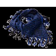 Tørklæde, jacquard - cobalt