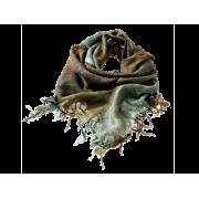 Tørklæde hørlook m/lurex - Oliven