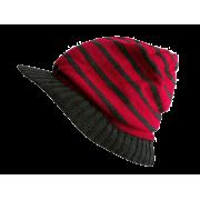 Kasket, strikket - rød / grå